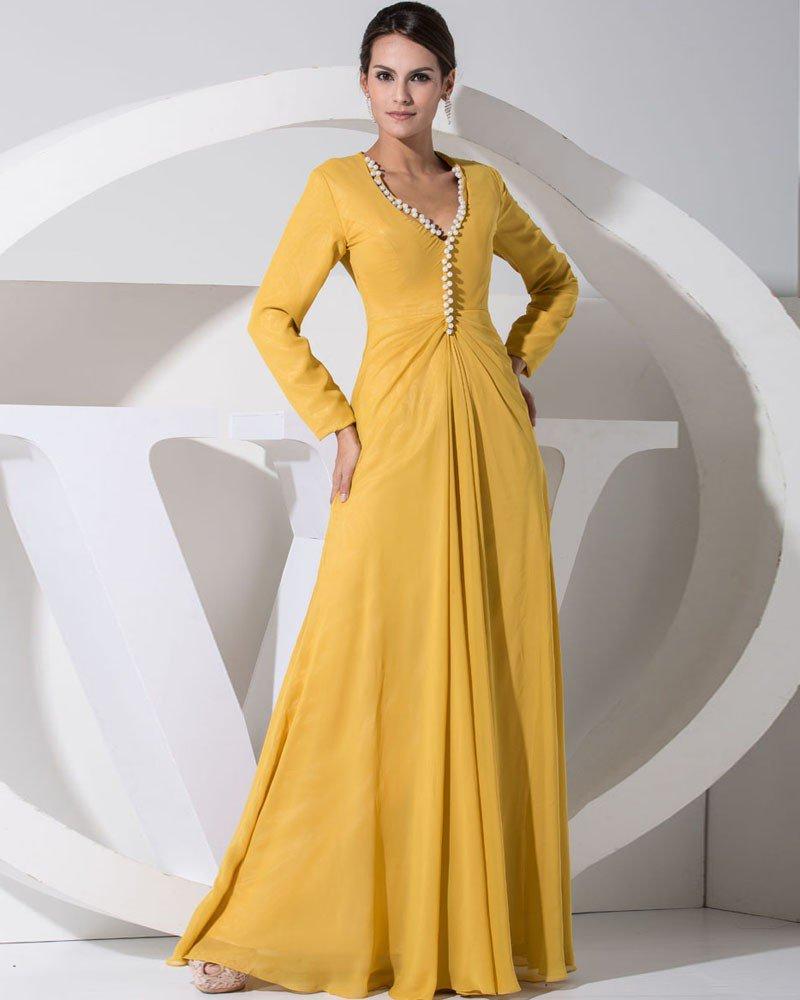 Chiffon Silk Beading V Neck Long Sleeve Mother of the Bride Dress