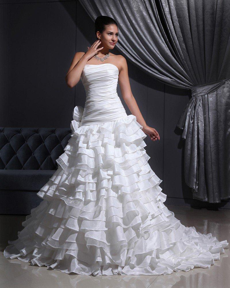 TU Cloth Solid Strapless Court A-line Bridal Gown Wedding Dress