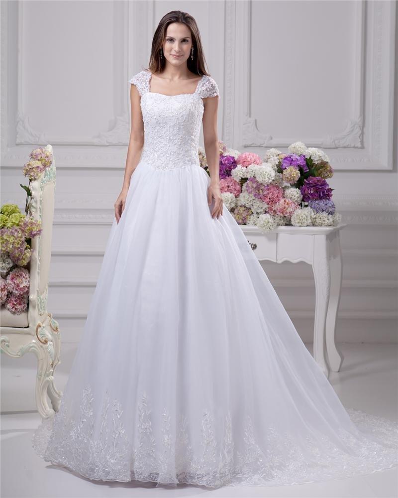 Square Lace Beading Floor Length Satin Women A Line Wedding Dress