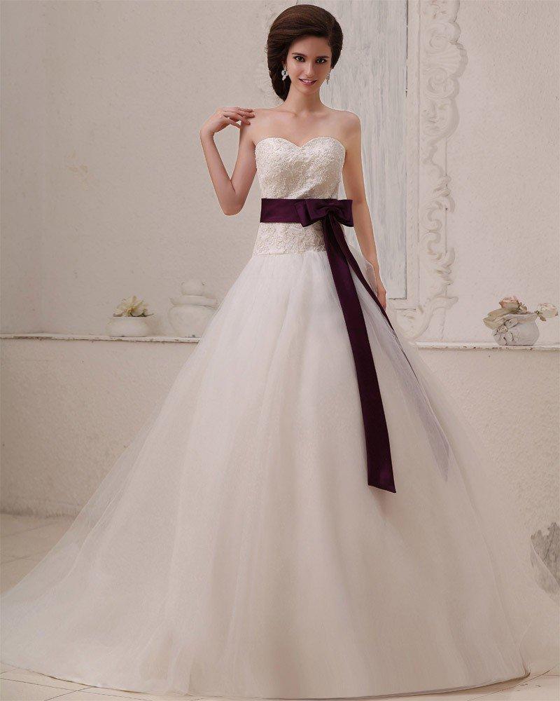 Tulle Sleeveless Applique Beading Sweetheart Chapel Train A-Line Wedding Dresses