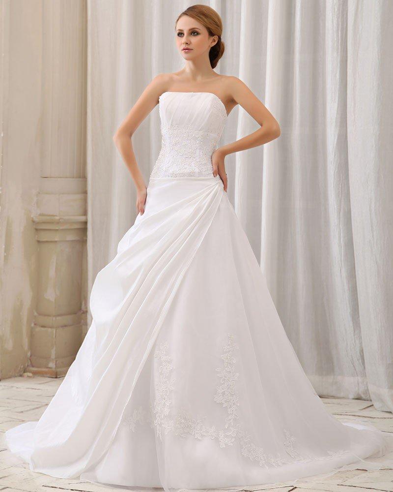 Elegant Solid Ruffle Applique A-Line Strapless Back Zipper Court Train Taffeta Wedding Dress
