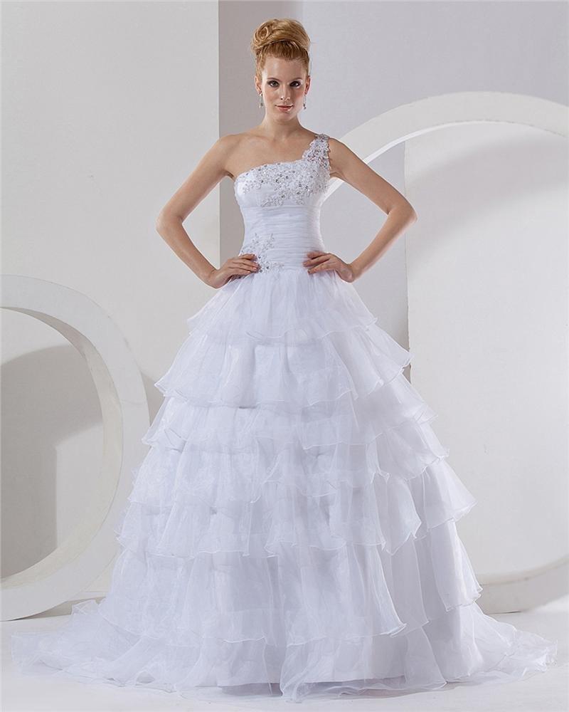 Organza Beading One Shoulder Chapel A-Line Bridal Gown Wedding Dresses