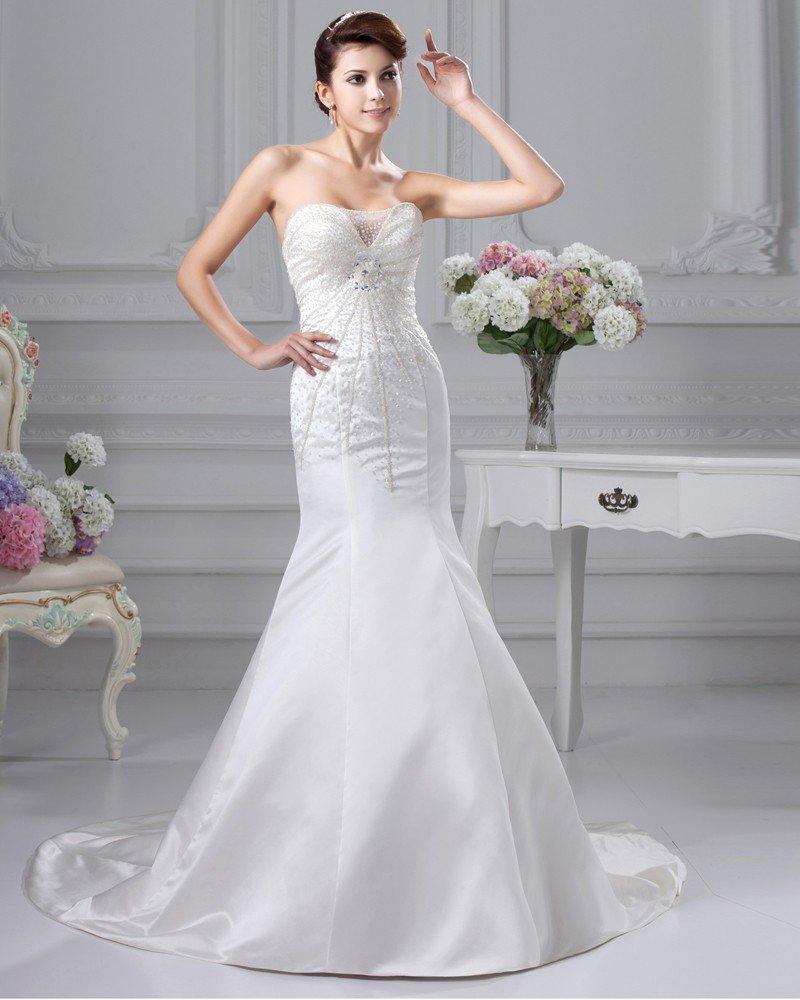 Beaded Ruffle Satin Sweetheart Chapel A-line Bridal Gown Wedding Dress