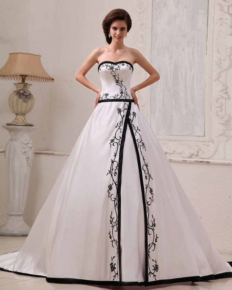 Satin Embroidery Sweetheart Court A-Line Bridal Gown Wedding Dresses
