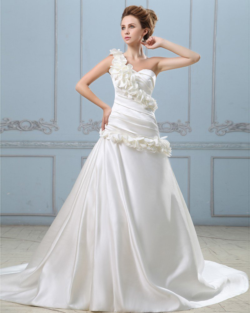Elegant Solid Applique Ruffle A-Line One Shoulder Back Zipper Court Train Satin Wedding Dress