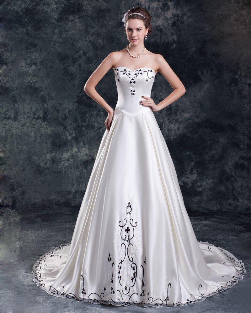 Satin Embroidery Court Train Sweetheart Women A Line Wedding Dress