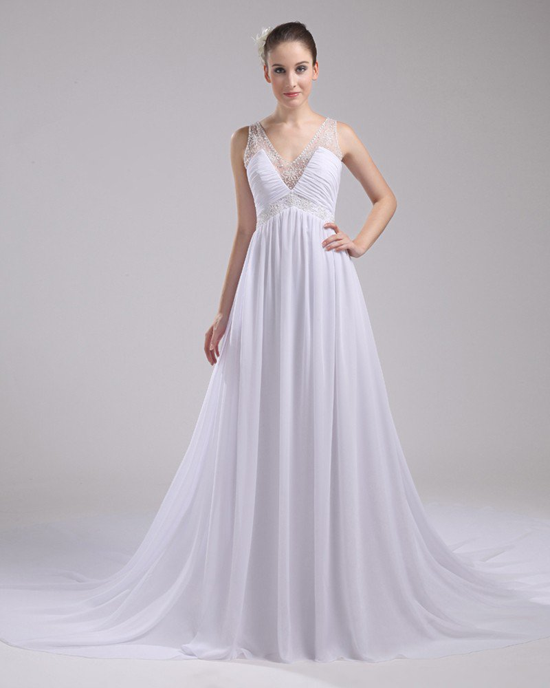 V Neck Floor Length Pleated Beading Chiffon Imitation Silk Woman A Line Wedding Dress