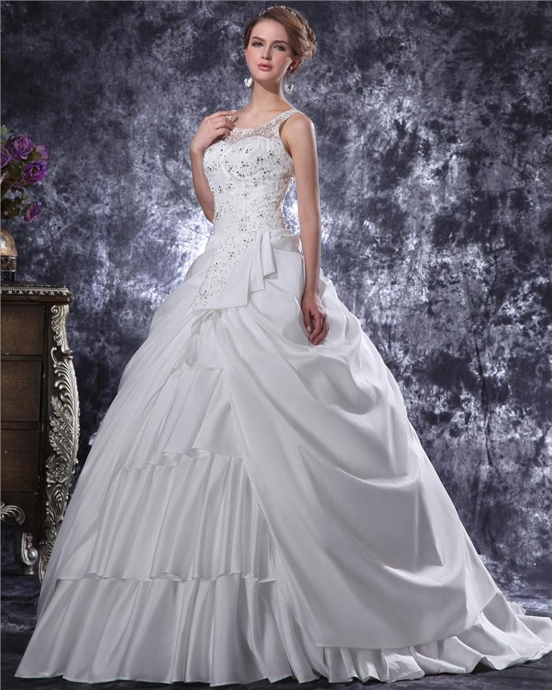 Graceful Beading Ruffles Spaghetti Straps Charmeuse A Line Wedding Dress