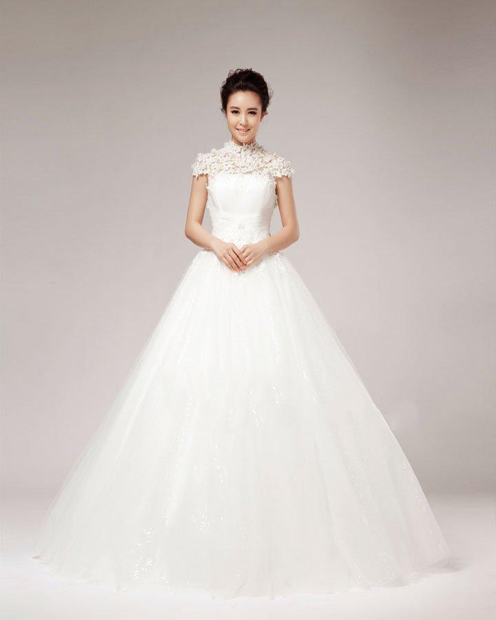 High Neck Beading Flower Floor Length Lace A Line Wedding Dress