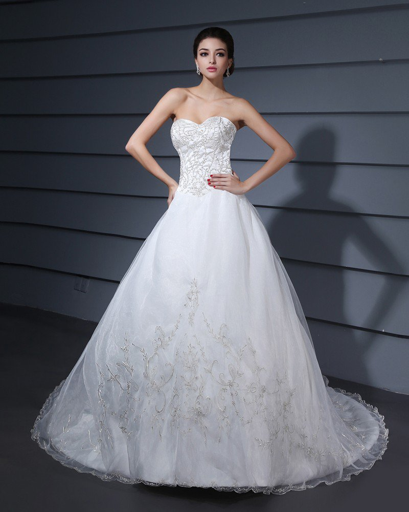 Monarch Train Embroidery Yarn Strapless A-Line Wedding Dress