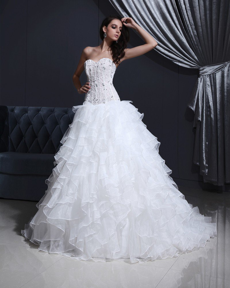 Tulle Organza Strapless Flower Bead A-Line Wedding Dress