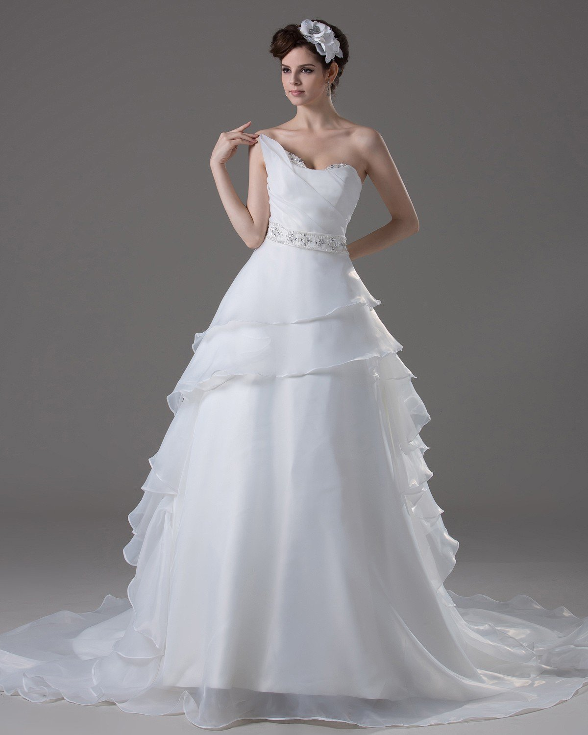 Sweetheart Floor Length Ruffles Beading Pleated Yarn A Line Wedding Dress