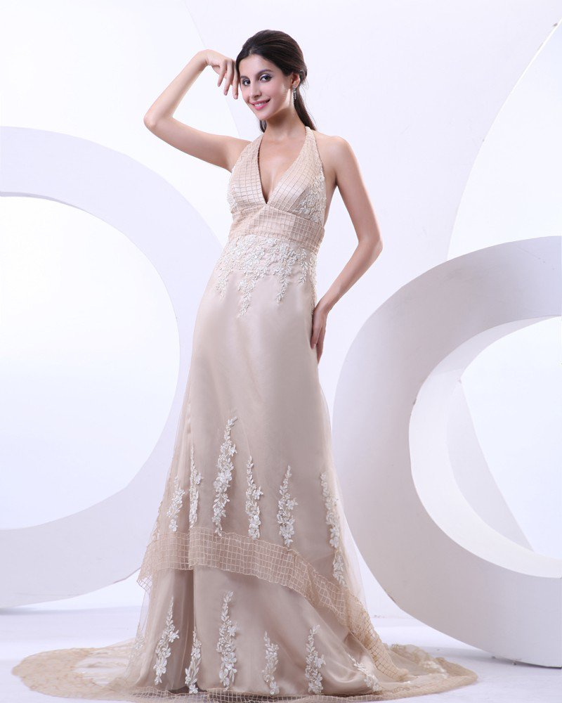Sexy Halter V-Neck Satin Tulle Court Train A Line Bridal Gowns Wedding Dress