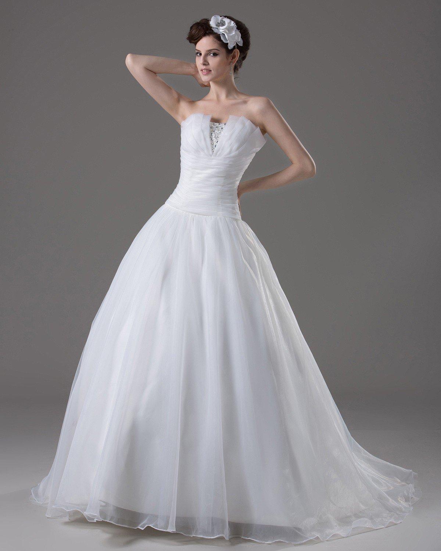 Strapless Floor Length Beading Pleated Yarn A Line Wedding Dress