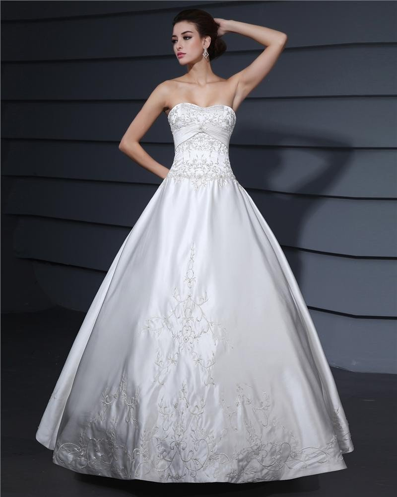 Satin Beading Embroidery Strapless Chapel A-line Bridal Gown Wedding Dress
