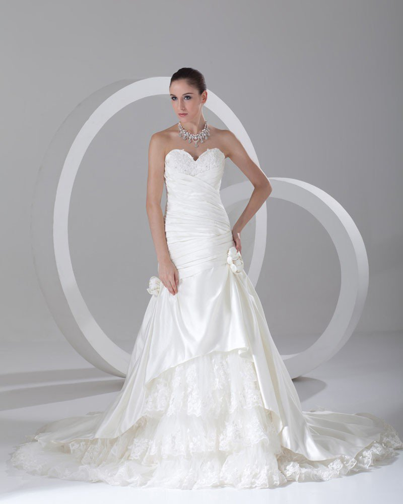 Satin Ruffle Flower Beads Sweetheart Court Train Ball Gown Women A Line Wedding Dress