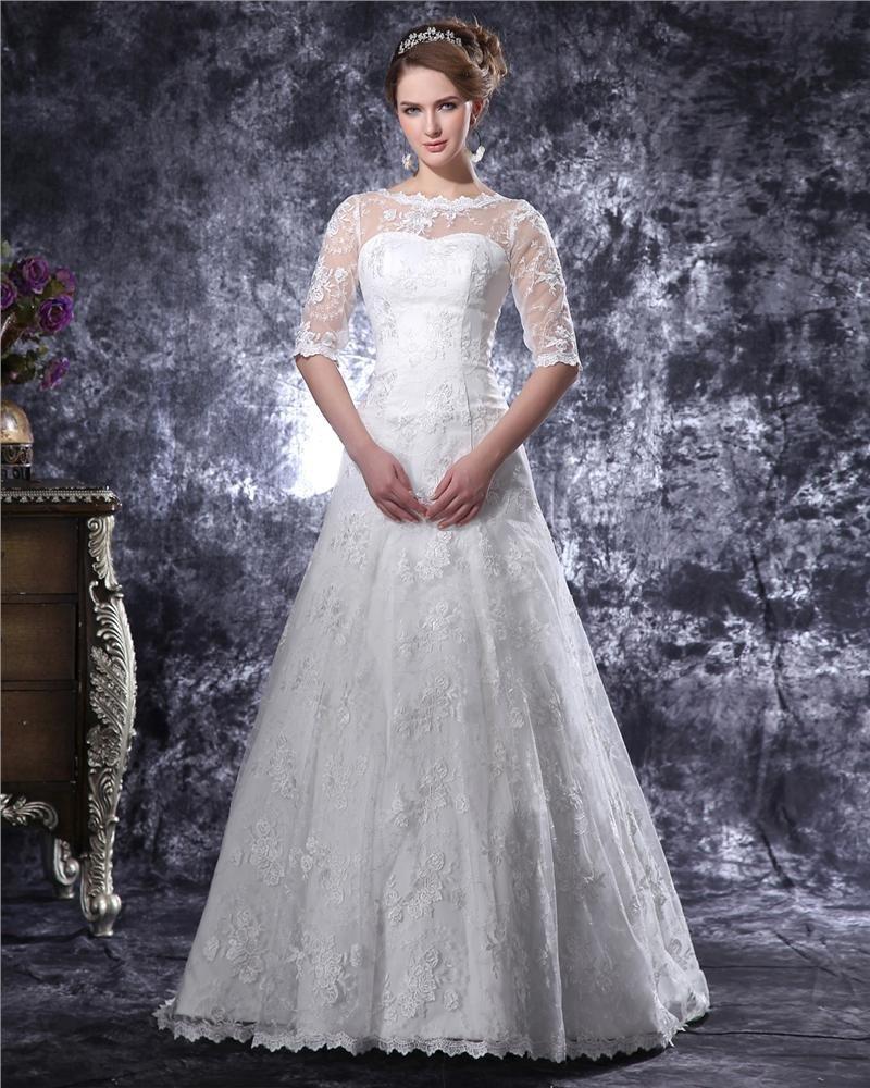 Graceful Lace Trimmings Bateau Floor Length Lace A Line Wedding Dress