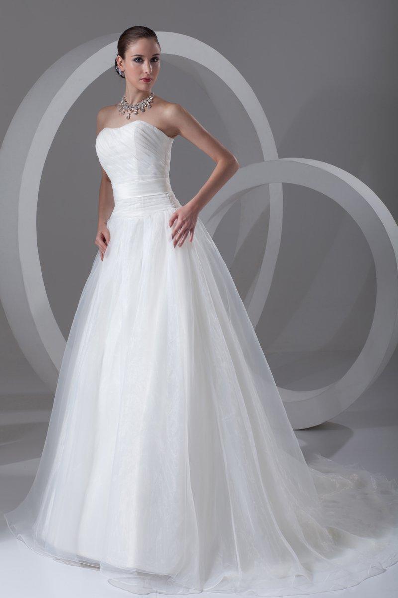 Organza Ruffle Strapless Court Train Ball Gown Women A Line Wedding Dress