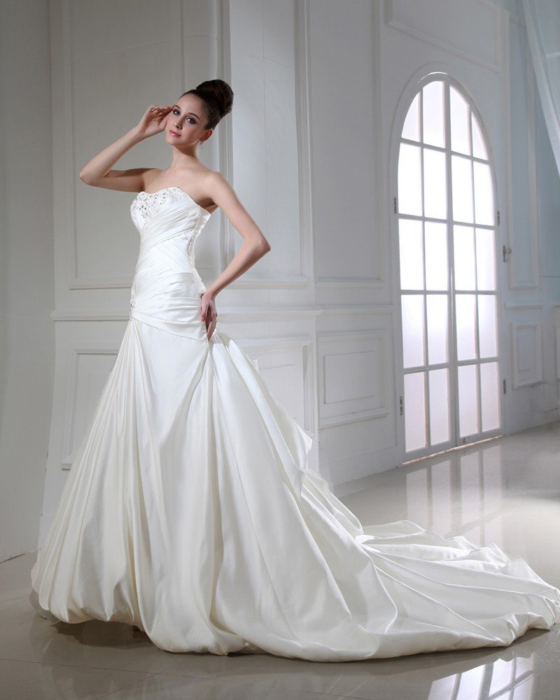 Taffeta Beading Ruffle Applique Strapless Chapel A-line Bridal Gown Wedding Dress