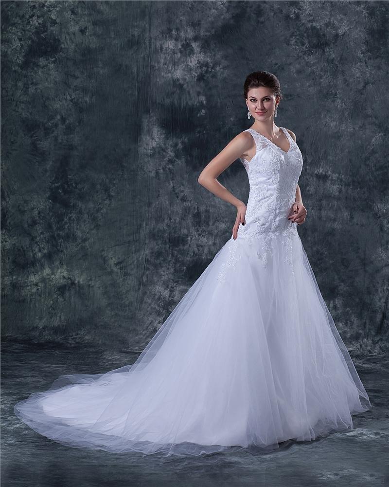 Tulle V-Neck Beading Sweep A-line Wedding Dress