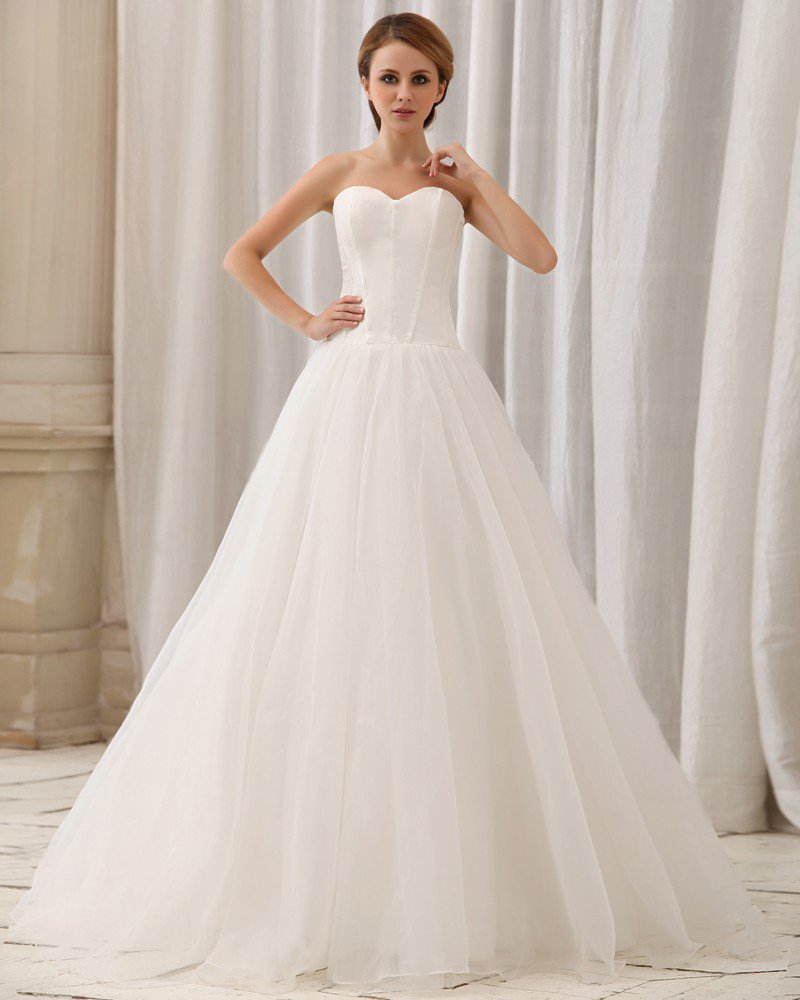 Elegant Solid Layering Strapless Back Zipper Court Train A-Line Satin Chiffon Wedding Dress