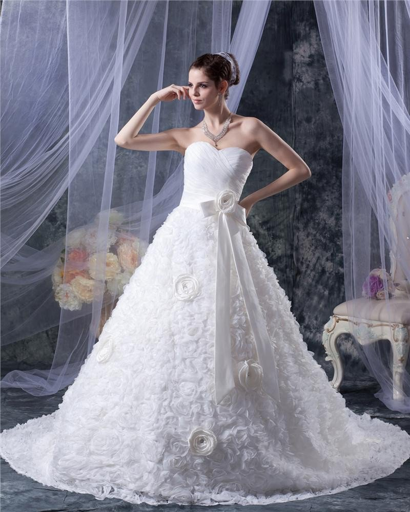Satin Lace Flower Sweetheart Chapel A-Line Bridal Gown Wedding Dress