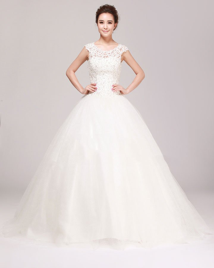 Round Neck Rhinestone Applique Lace A Line Wedding Dress