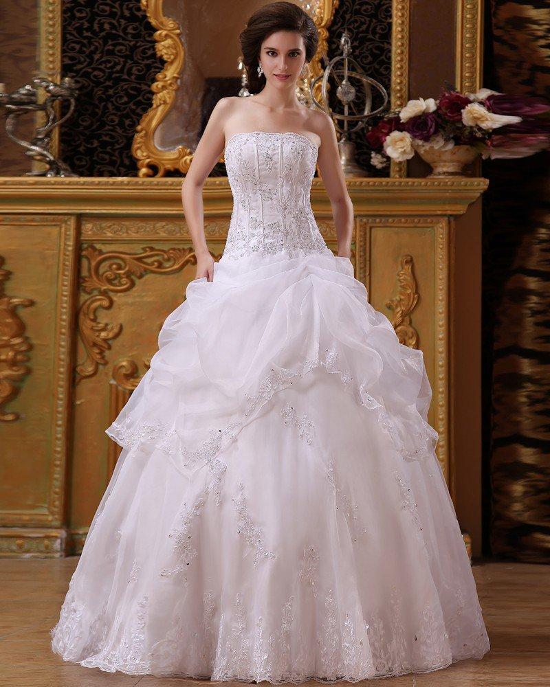 Strapless Floral Arrangements Catch Bubble Organza Floor Length A-Line Wedding Dresses