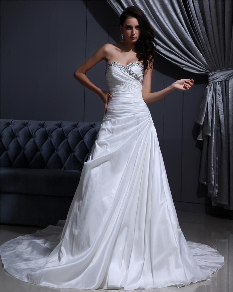Sweetheart Floor Length Beading Pleated Taffeta Cathedral Train A-Line Wedding Dress