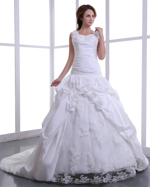 Square Taffeta Embroidery Bead Cathedral Train A-Line Wedding Dress 170001