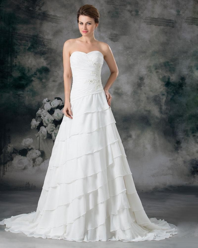 Sweetheart Layered Beading Chiffon Floor Length Court Train A Line Wedding Dress