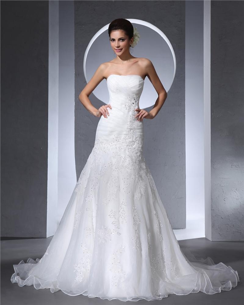 Strapless Beading Pleated Floor Length Satin Tulle Woman A Line Wedding Dress