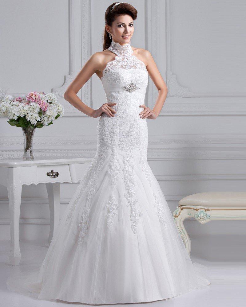 Gauze High Neck Applique Monarch Train A-line Wedding Dress