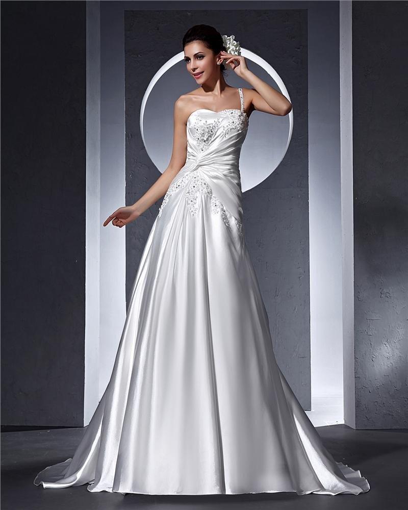 One Shoulder Beading Applique Floor Length Satin Woman A Line Wedding Dress