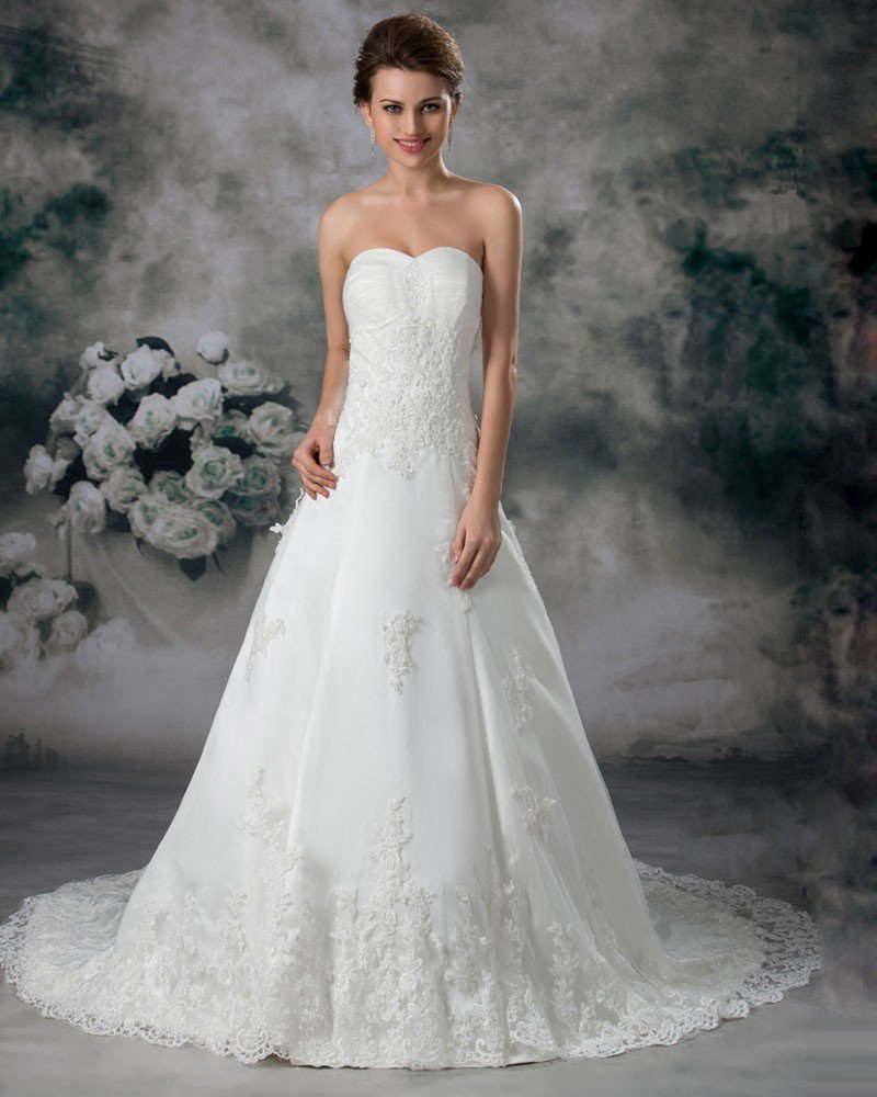 Tulle Lace Sweetheart Floor Length Court Train A Line Wedding Dress