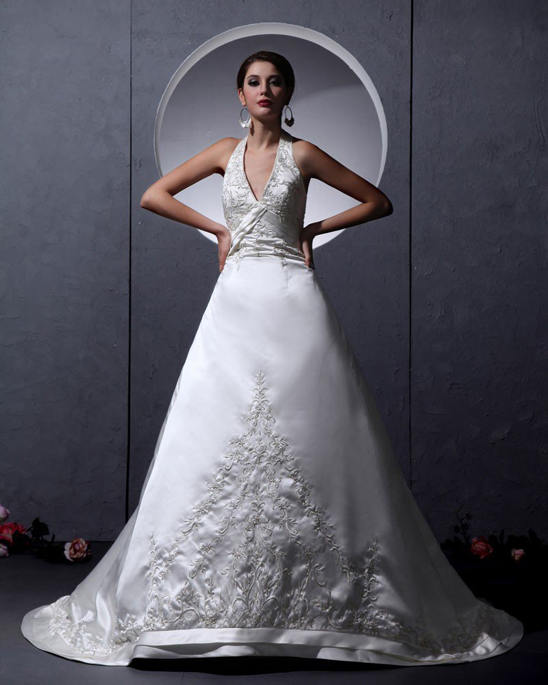 Charmeuse Chiffon Ruffle Applique Strapless Chapel A-Line Bridal Gown Wedding Dresses