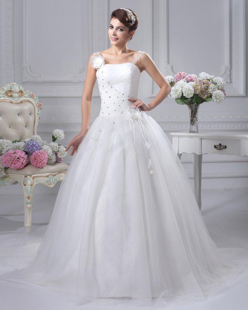 Satin Beaded Flowers Shoulder Straps Chapel Bridal Ball Gown Wedding Dress