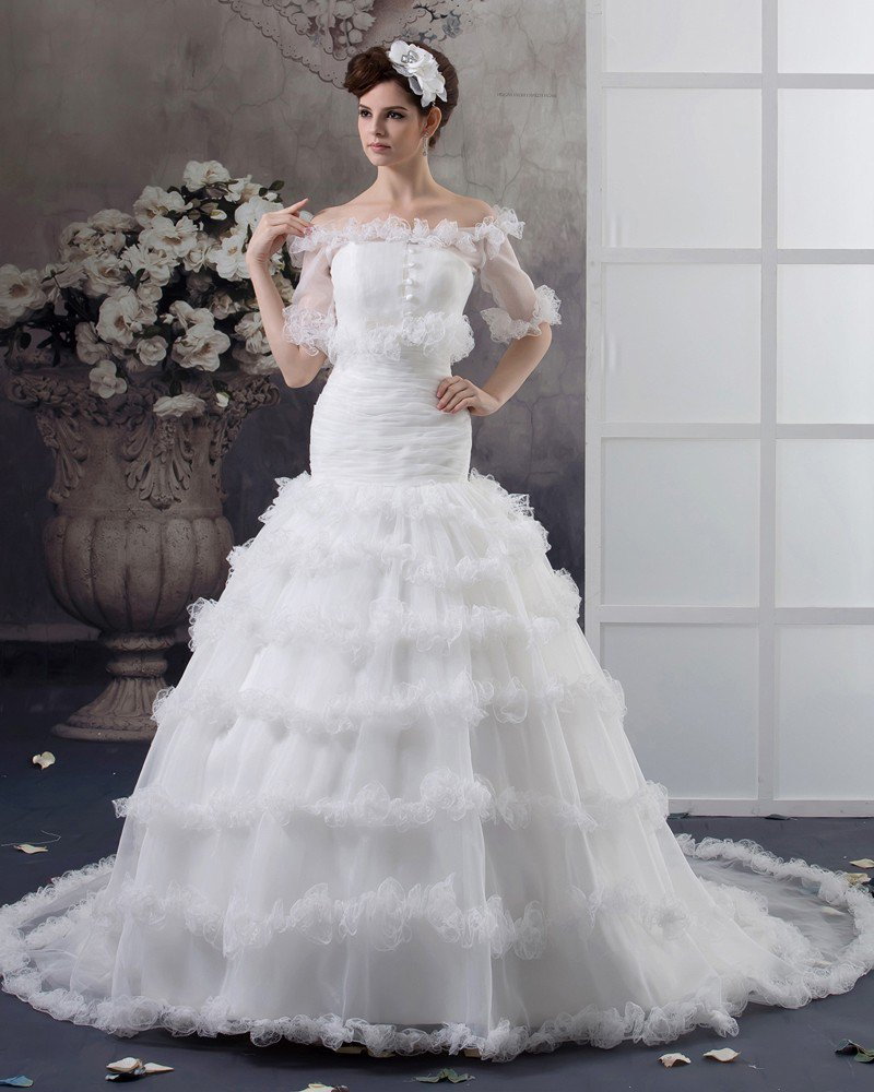 Beaded Yarn Sweep Flower Bridal Ball Gown Wedding Dress
