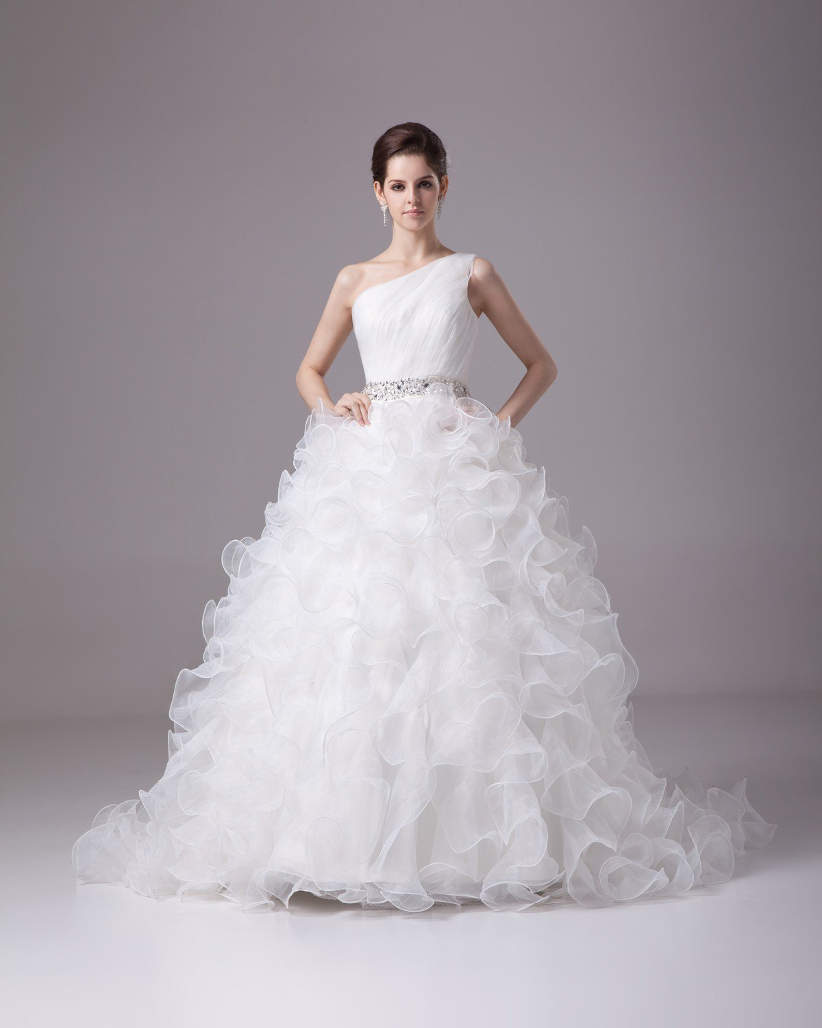 Sloping Floor Length Beading Ruffles Pleated Satin Yarn Ball Gown Wedding Dress