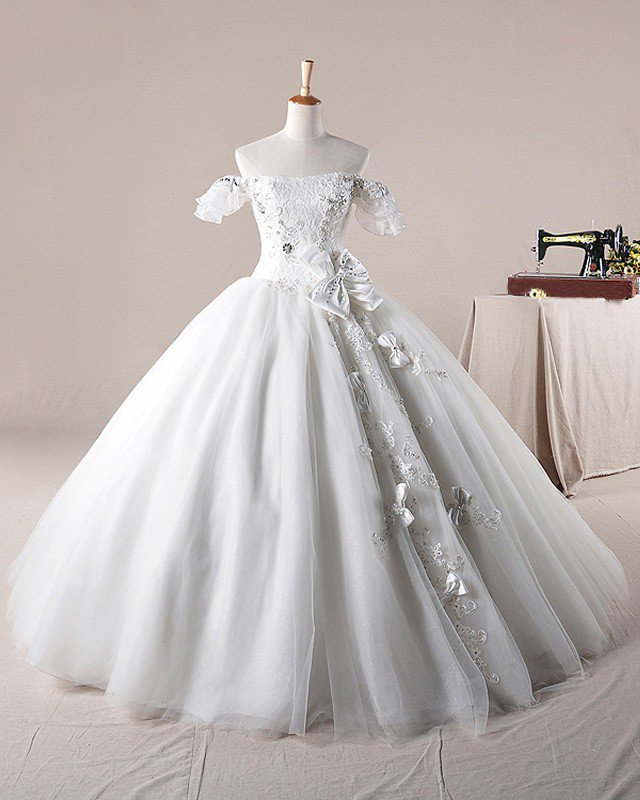 Solid Applique Beading Bateau Bow Decoration Organza Ball Gown Wedding Dress