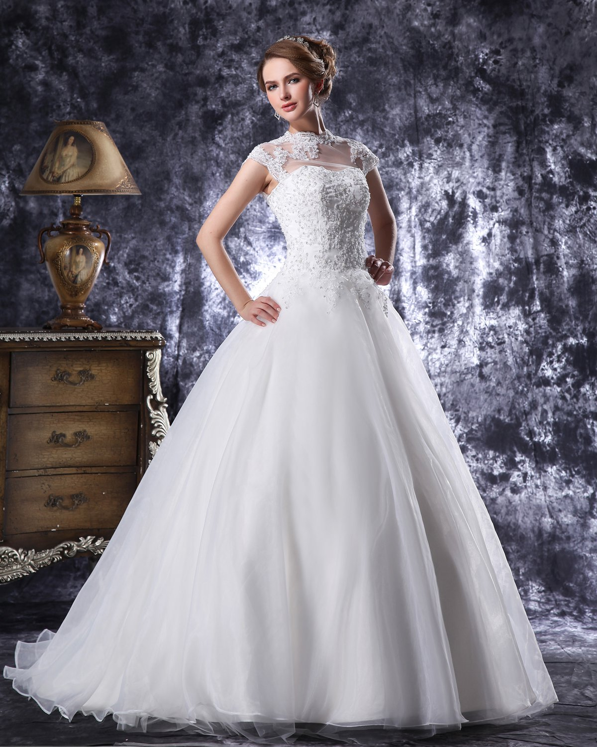 High Neck Floor Length Beading Applique Organza Ball Gown Wedding Dress