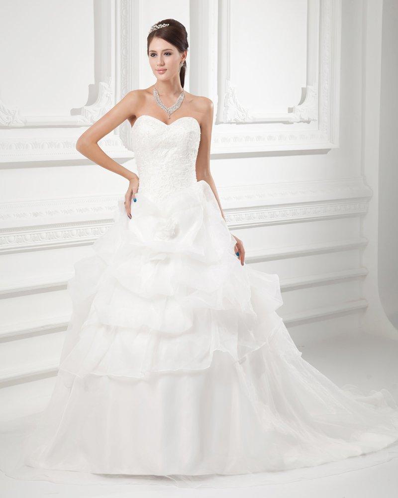 Organza Applique Beading Ruffle Sweetheart Court Train Tiered Ball Gown Wedding Dress