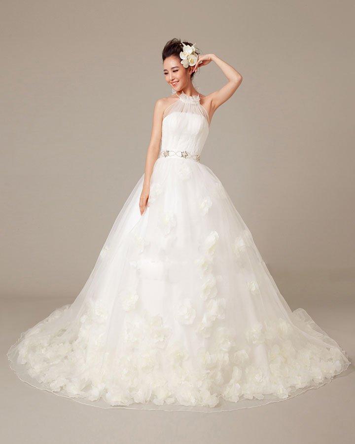 Solid Applique Beading Ruffles High Neck Organza Ball Gown Wedding Dress
