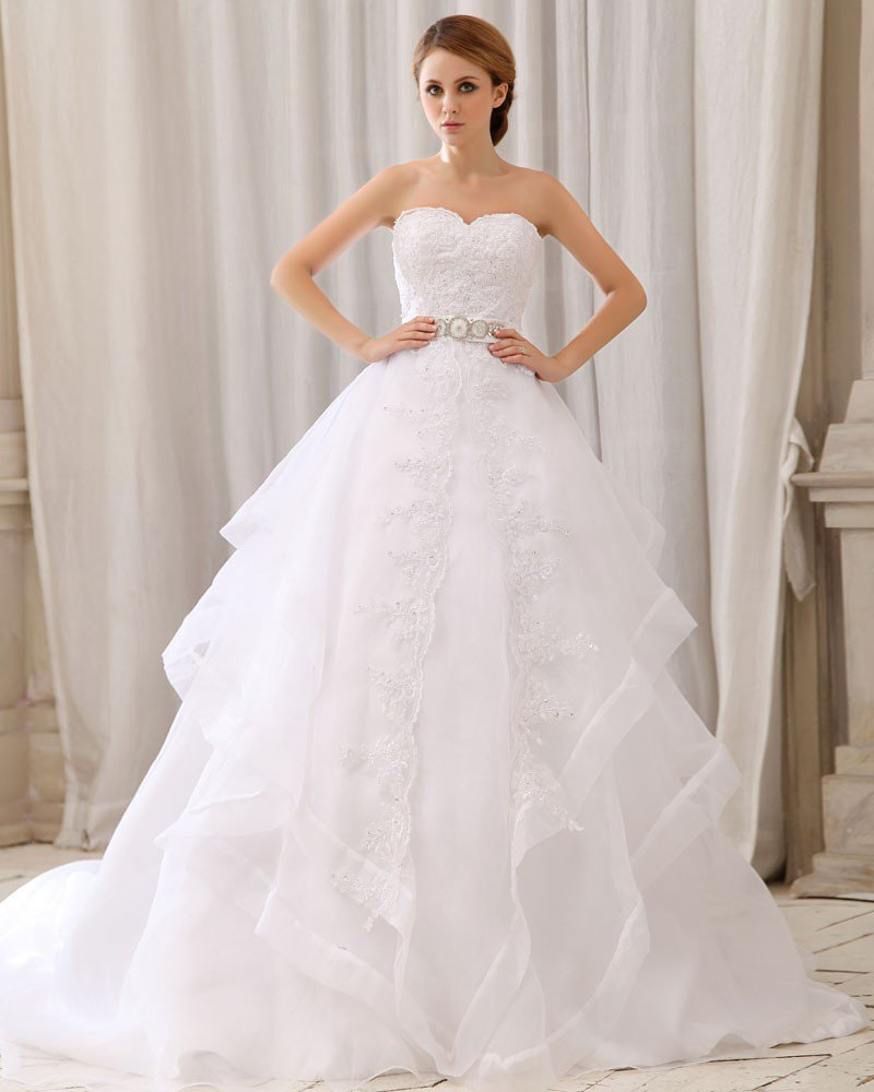 Elegant Solid Layered Waist Rhinestone Strapless Back Zipper Bow Court Train Organza Lace Ball Gown