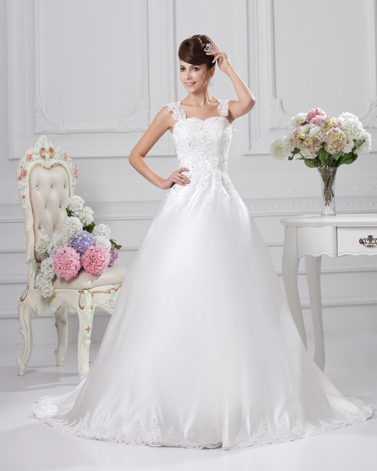 Square Floor Length Applique Beading Satin Ball Gown Wedding Dress