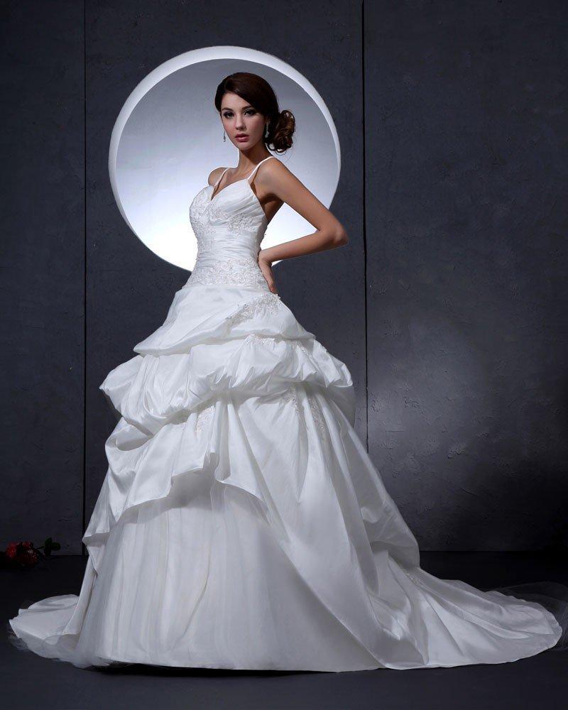 Taffeta Beading Embroidered Court Bridal Ball Gown Wedding Dress