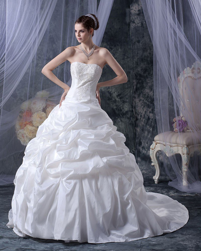 Stylish Satin Sweetheart Ruffle Court A-Line Bridal Gown Wedding Dress