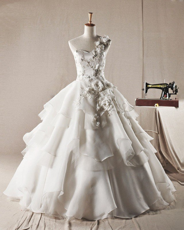 Sweet Ruffles Applique Beading One Shoulder Organza A Line Wedding Dress