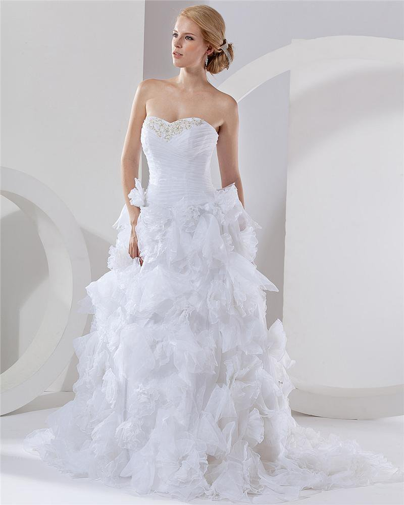 Satin Organza Applique Layered Sweetheart Cathedral Bridal Ball Gown Wedding Dress