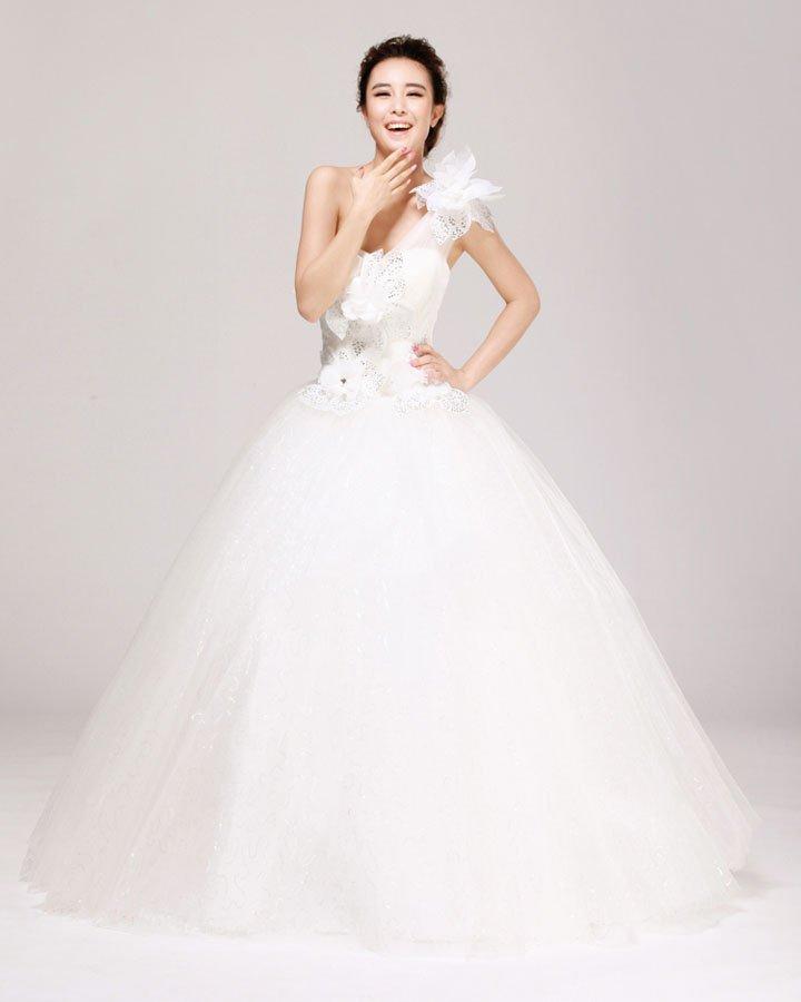 One Shoulder Rhinestone Floor Length Satin A Line Wedding Dress